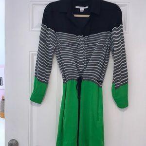 Diane Von Furstenberg gray green navy dress